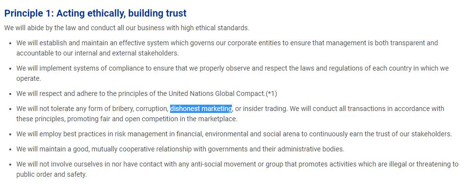 Principle 1: Acting ethically, building trust